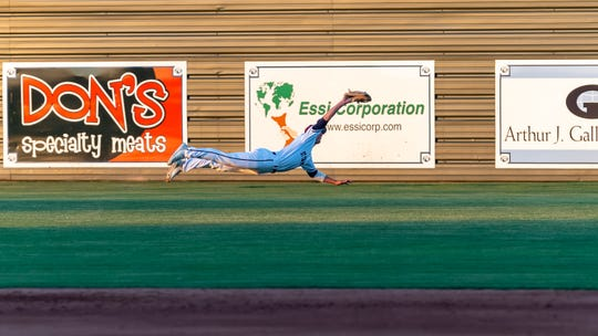 Cougars centerfielder Josh Stevenson makes a diving catch as St Thomas More takes down Teurlings. Tuesday, March 26, 2019.