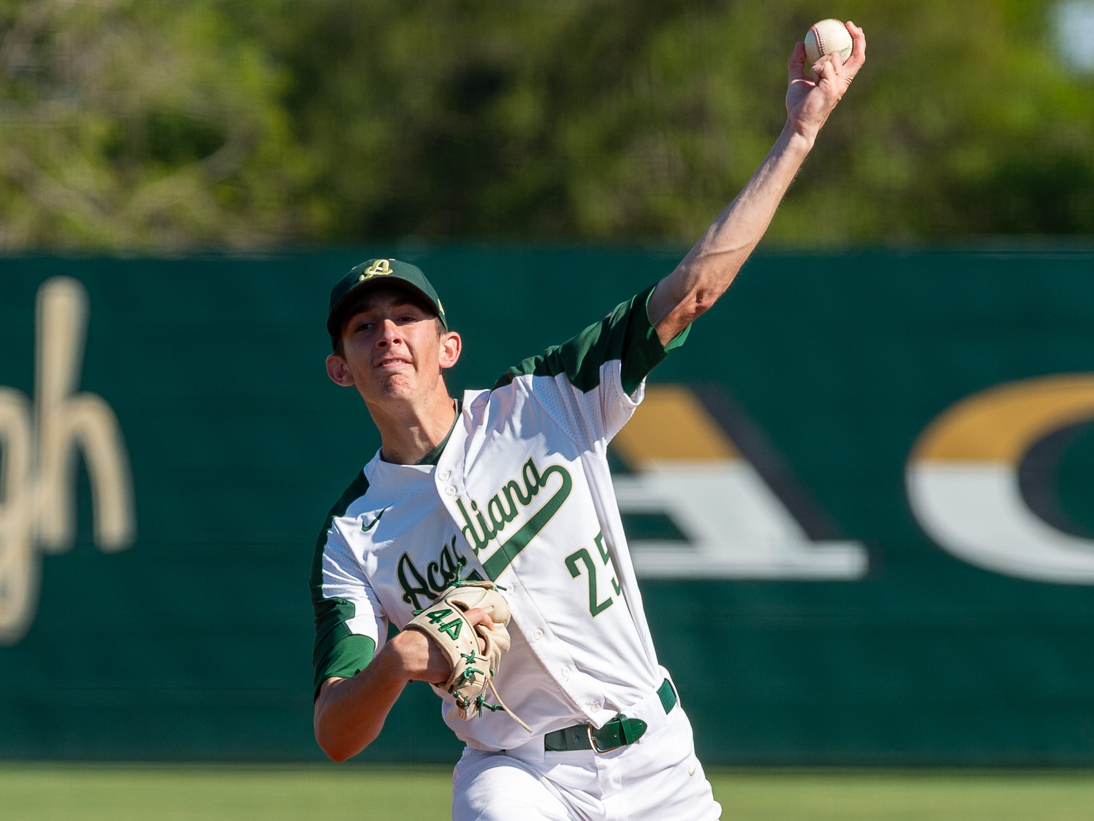 Rams starting pitcher Seth Trahan on the mound as Acadiana takes on Sam Houston baseball. Tuesday, March 26, 2019.