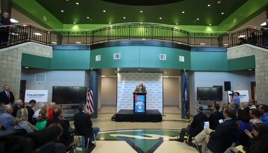 Nucor CEO and president, John Ferriola announces that Nucor Corp., the nation's largest steel and steel products producer, will invest $1.35 billion in a Meade County steel mill project, expecting to create 400 jobs, at Meade County College and Career Center in Brandenburg, Ky. on Tuesday, March 27, 2019.