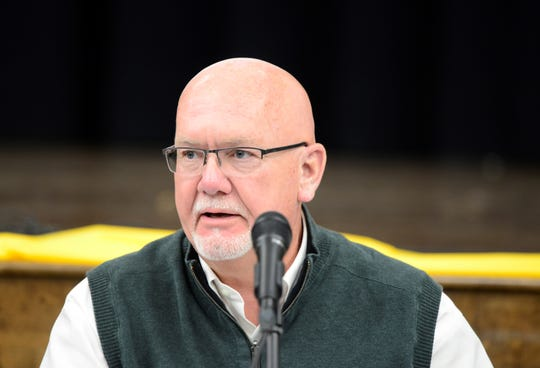 Madison school board member Tim Wigton at a board meeting on March 27, 2019.
