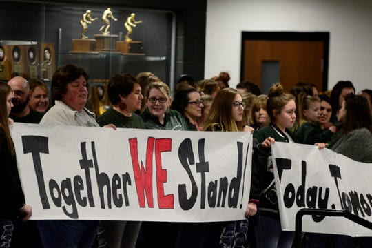 Madison teachers, support staff and supporters pack a school board meeting on March 27, 2019.