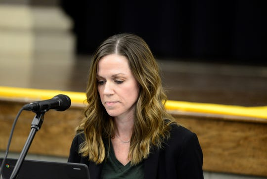 Madison school board member Amy Walker at a school board meeting on March 27, 2019.