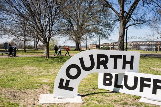 "A tour group arrives at Memphis Park during the Civic Commons Fourth Bluff tour on March 27, 2019. Memphis is one of five cities taking part in ""Reimagining the Civic Commons,"" a national initiative aimed at reviving and connecting different features in each city."