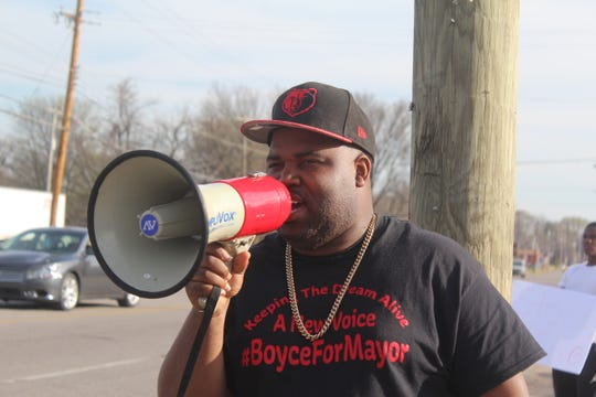 Terrence Boyce, 30, holds a rally on March 27 in North Memphis calling for a stop to violence during his 2019 mayoral campaign.