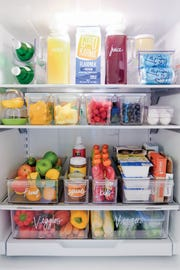 "This idea of a smartly-organized, healthy refrigerator is from the book ""The Home Edit."""