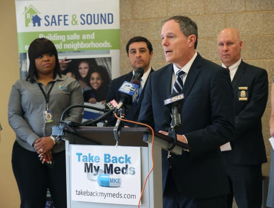 "Jon Richards, Coalition Director of ""Take Back My Meds MKE"" speaks about the importance of event like this drug take back event.  Left to right at rear are also Adrian Spencer of Safe & Sound, Attorney General Josh Kaul, Wisconsin Department of Justice, and Paul Maxwell of the Drug Enforcement Administration. March 27, 2019 Safe and Sound's 27th Street West Drug Free Coalition with partners hosts a drug take event for residents at Cherry Court Mid-Rise 1525 N.24th Street in Milwaukee."