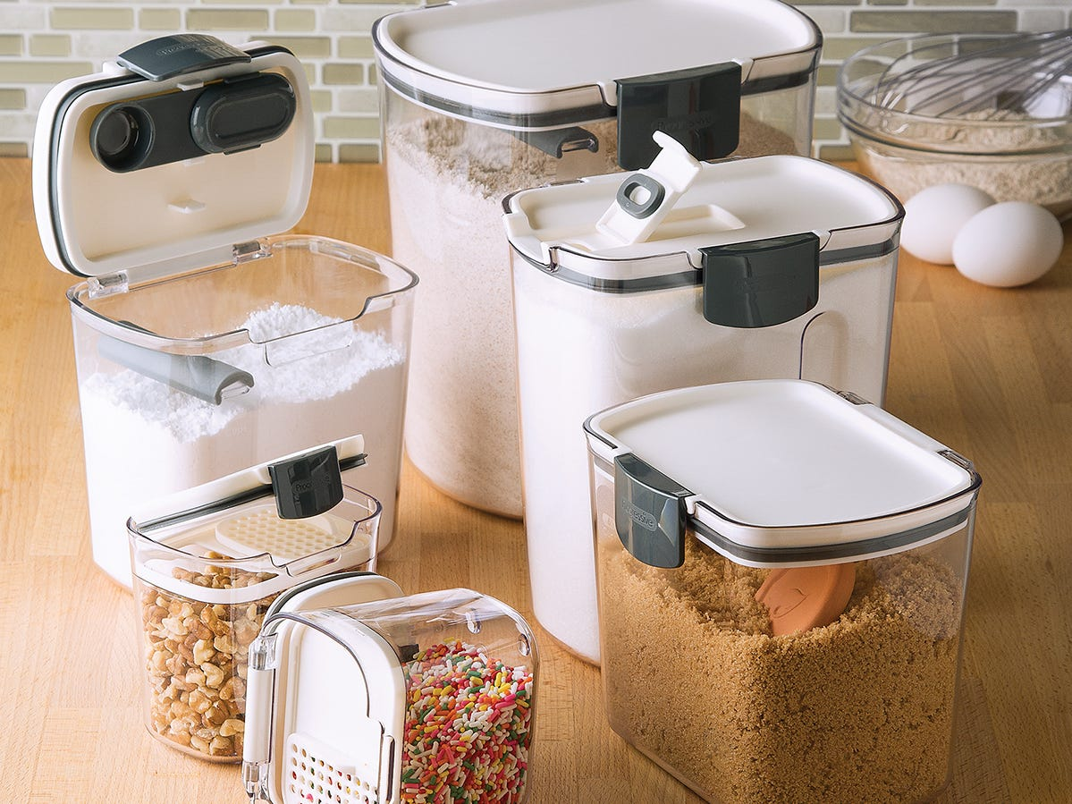 This set of six clear storage containers from The Container Store will keep various baking ingredients fresh.