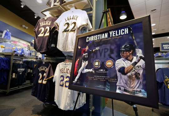 Christian Yelich is a popular seller for jerseys and apparel at the Milwaukee Brewers team store at Miller Park.