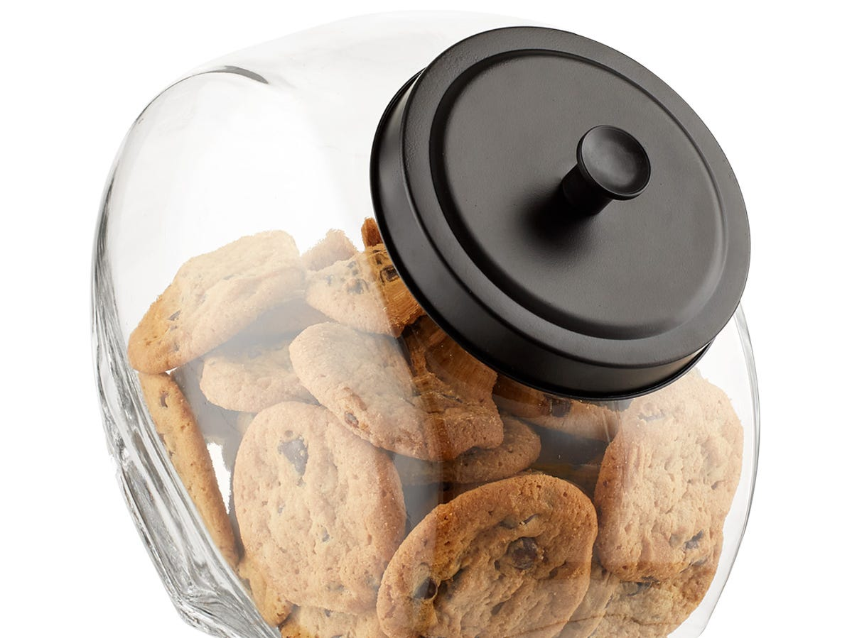 Clear containers for cupboards and counter are in vogue, including this 1-gallon slanted jar.