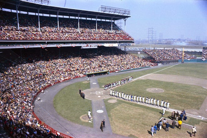 The Brewers line up for opening day ceremonies before facing the California Angels on April 10, 1971.