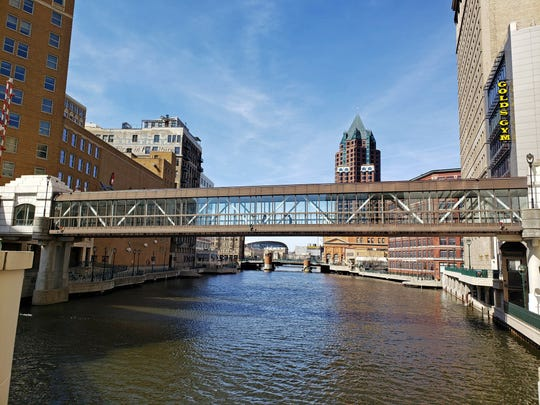 A skywalk spans the Milwaukee River north of Wisconsin Avenue. Because the skywalk crosses a navigable waterway, it required input from the Army Corps of Engineers.