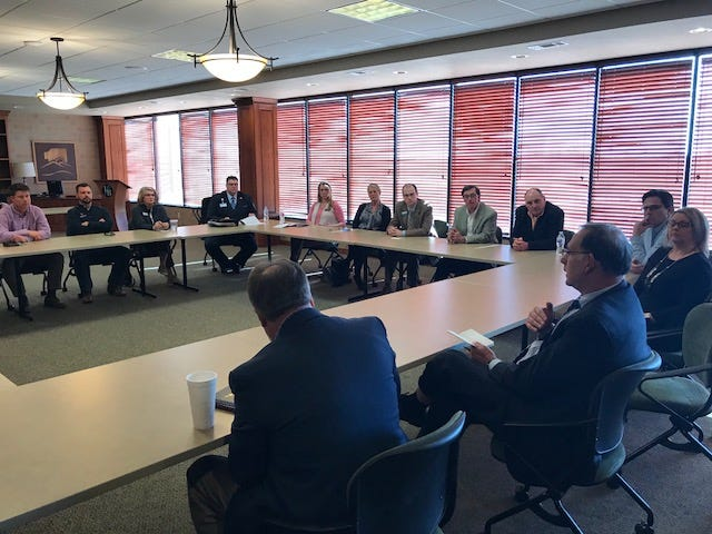 U.S. Senator John Boozman recently met with members of the Mountain Home Chamber of Commerce on March 18 to hear from business leaders about issues important to the community, including transportation funding, support for veterans and the Food Bank of North Central Arkansas.