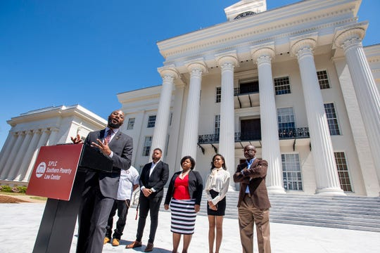 Jason Barnes, Outreach Fellow for the Alabama Voting Rights Project, speaks at a press conference on the importance of the restoration of voting rights to the disenfranchised in Alabama on Wednesday March 27, 2019 on the state capitol steps in Montgomery, Ala.