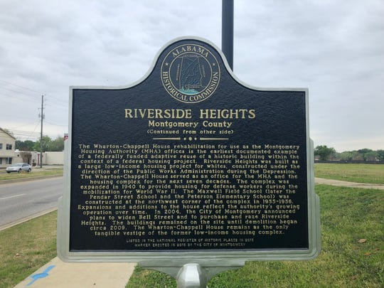 A new historical marker placed along Maxwell Boulevard to remember the former Riverside Heights housing complex.