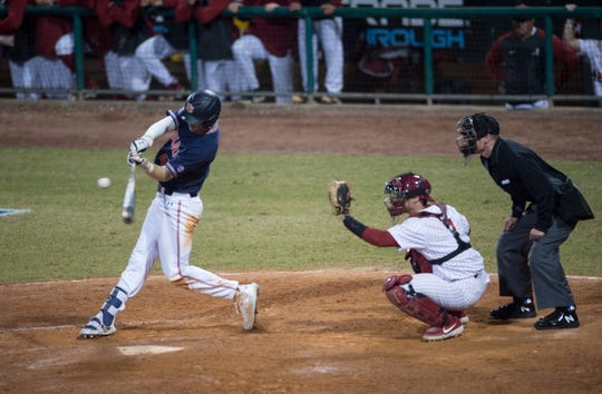 Auburn's Steven Williams (41) swings at the ball during the Auburn-Alabama Capital City Classic at Riverwalk Stadium in Montgomery, Ala., on Tuesday, March 26, 2019. Alabama defeated Auburn 6-3.
