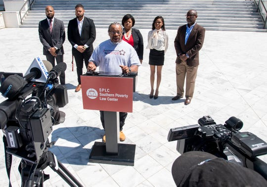 Tim Lanier talks about his ongoing fight to get his voting rights back as the Alabama Voting Rights Project holds a press conference on the importance of the restoration of voting rights to the disenfranchised in Alabama on Wednesday March 27, 2019 on the state capitol steps in Montgomery, Ala.