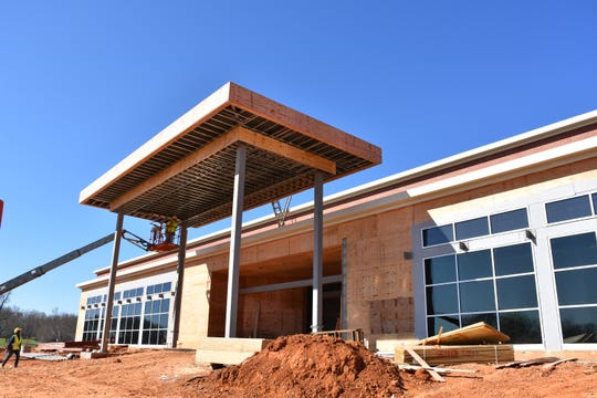 The front of Burns Middle School, which is nearing completion for school to start this year.
