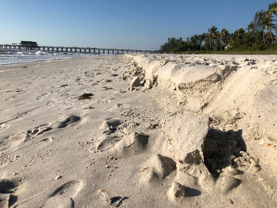 Beach erosion was evident in late March near the Naples Pier.