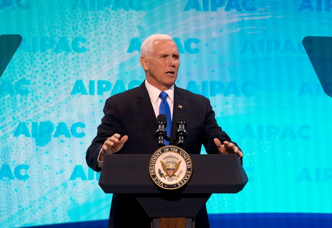 Vice President Mike Pence speaks at the 2019 American Israel Public Affairs Committee policy conference in Washington on March 25, 2019.