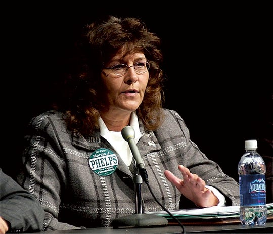 A file photo from October 2004 shows Marcia Phelps, who served as Licking County Commisioner at the time.  Phelps now serves as the Licking County Municipal Court Clerk of Court.