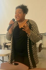 Darlene Sweeney-Newbern, director of regional operations for the Ohio Civil Rights Commission, spoke Tuesday at a fair housing training and community discussion at Newark High School.