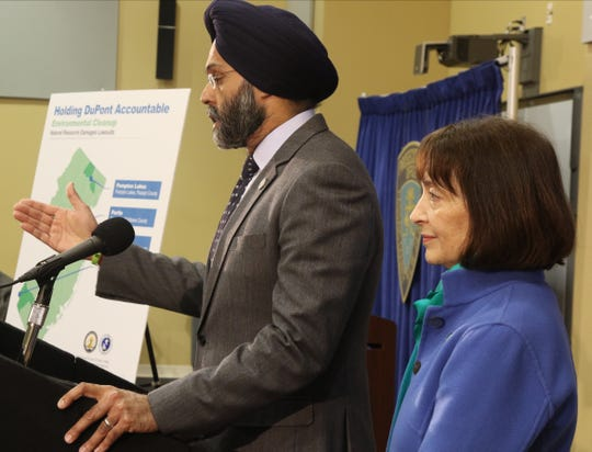 Attorney General, Gurbir Grewal with Catherine McCabe, NJ DEP Commissioner announces four new environmental lawsuits for contamination allegedly linked to DuPont including their site in Pompton Lakes at a press conference in Totowa on March 27, 2019.