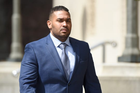 Former Paterson Police Officer Eudy Ramos leaves federal court on Wednesday, March 27, 2019. Ramos is charged with civil rights violations for allegedly conducting illegal traffic stops and taking money from the occupants of the vehicles.