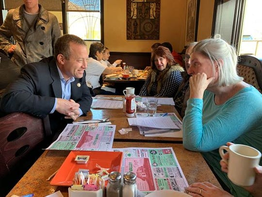 "Congressman Josh Gottheimer (NJ-5) (left, speaking with a diner) held his 35th ""Cup of Joe with Josh"" Town Hallon March 23  at the Lenape Valley Diner in Oakland. Constituents filled the diner to talk with Gottheimer about cutting taxes, protecting air and water and his work with the bipartisan Problem Solvers Caucus."