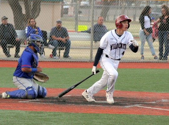 Junior Adrian Chavez sends a ball down the right-field side of the diamond during Tuesday's 6-4 Deming High win over visiting Las Cruces High at E.J. Hooten Park.