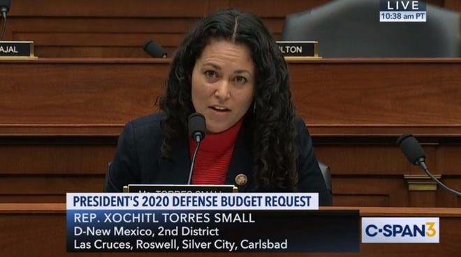 Frame grab from C-Span's broadcast of U.S. Rep. Xochitl Torres Small, D-NM, addressing Acting Secretary of Defense Patrick Shanahan during a House Armed Services Committee hearing on Tuesday, March 26, 2019.