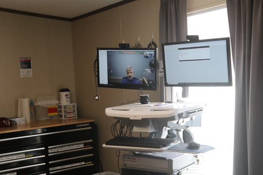 The examination room in XStreme MD's new clinic features the ability to teleconference with a health care and medical professional.