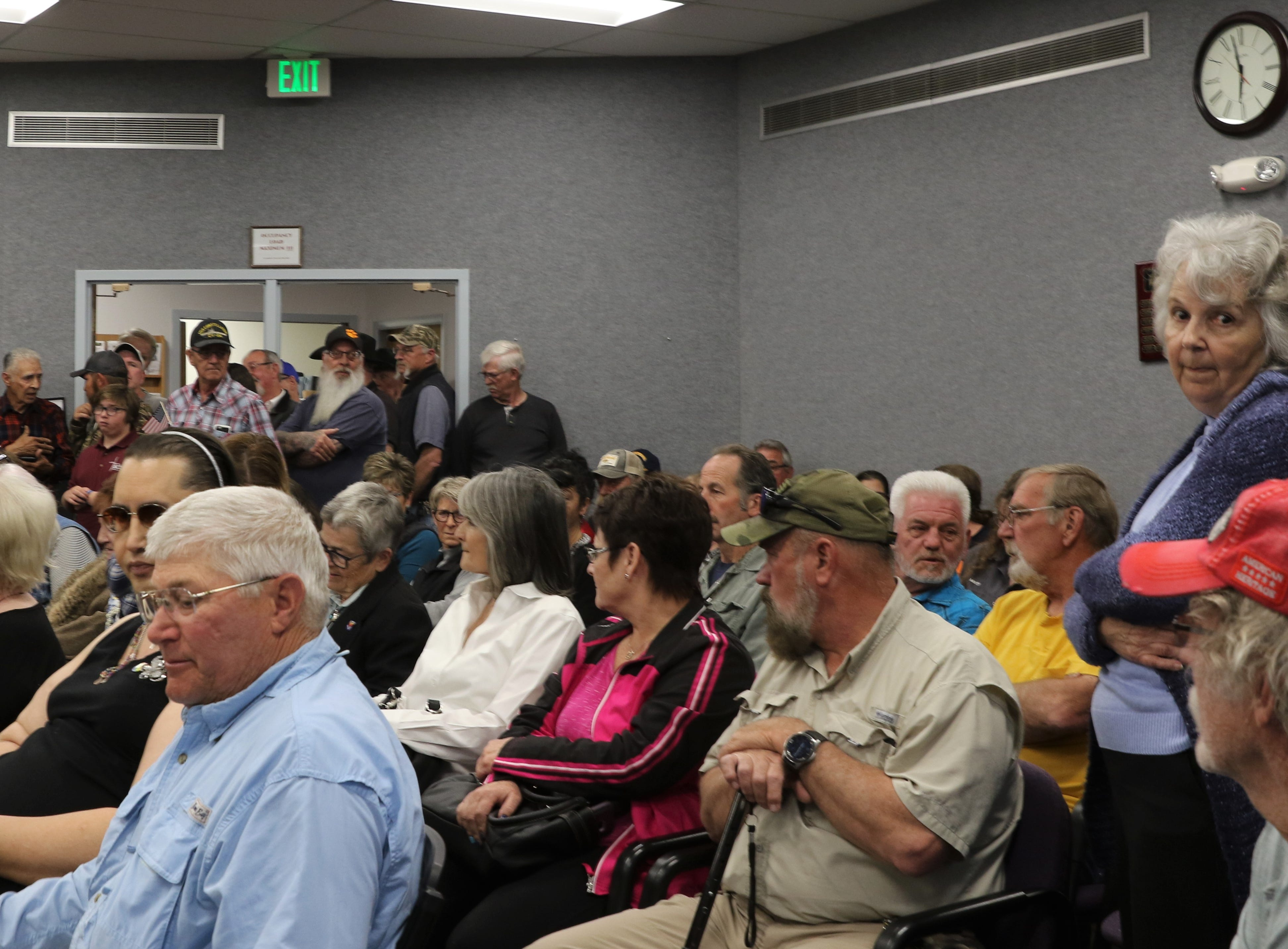 A crowd gathered, Tuesday, March 26, 2019, prior to the Aztec City Commission meeting.