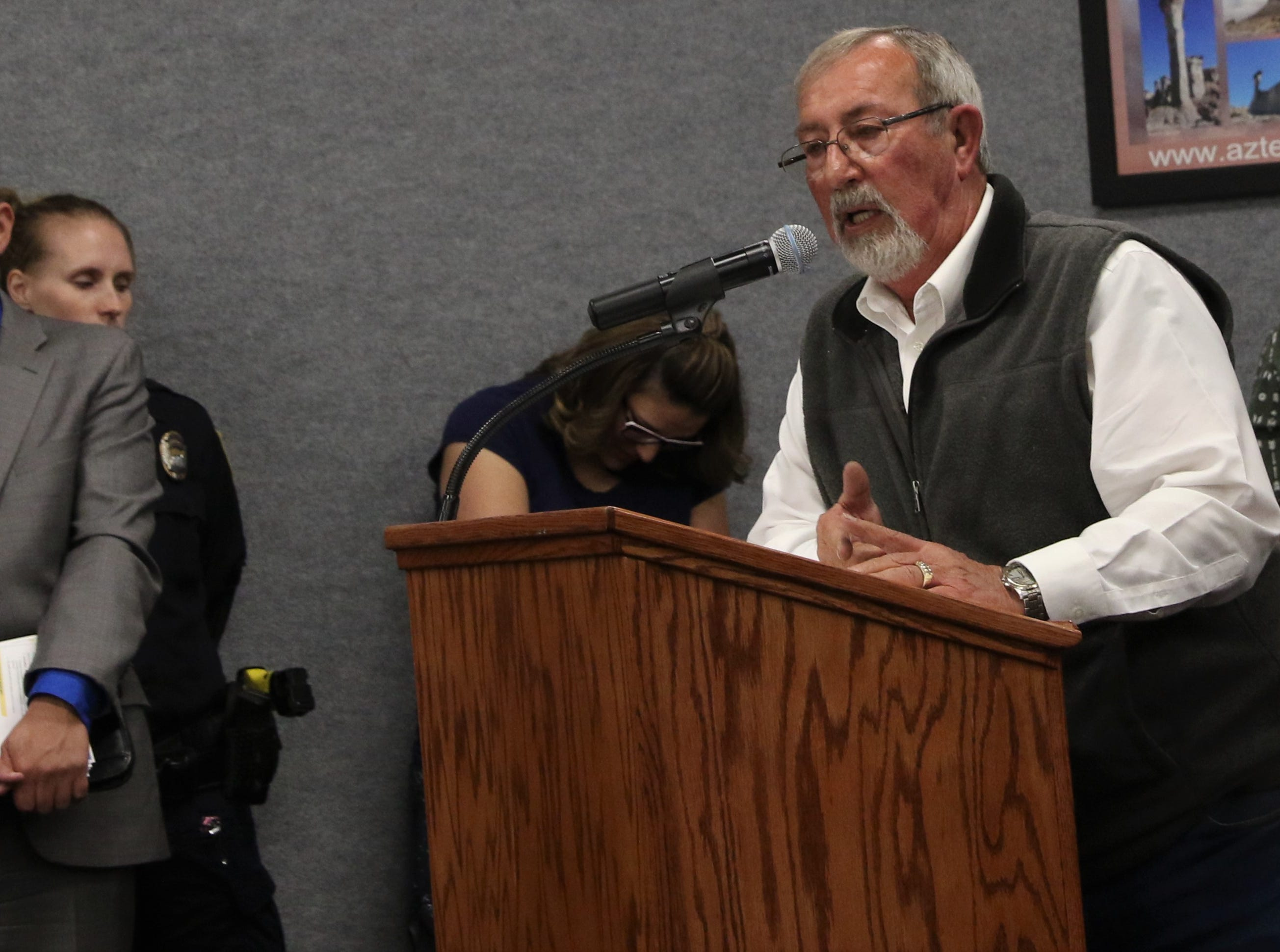 Former Mayor Mike Padilla speaks, Tuesday, March 26, 2019, during an Aztec City Commission meeting.