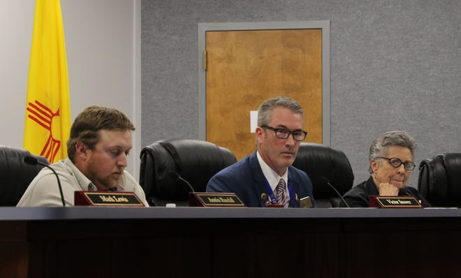 Commissioner Austin Randall, Mayor Victor Snover and Commissioner Roslyn Fry participate in a City Commission meeting, Tuesday, March 26, 2019, in Aztec.