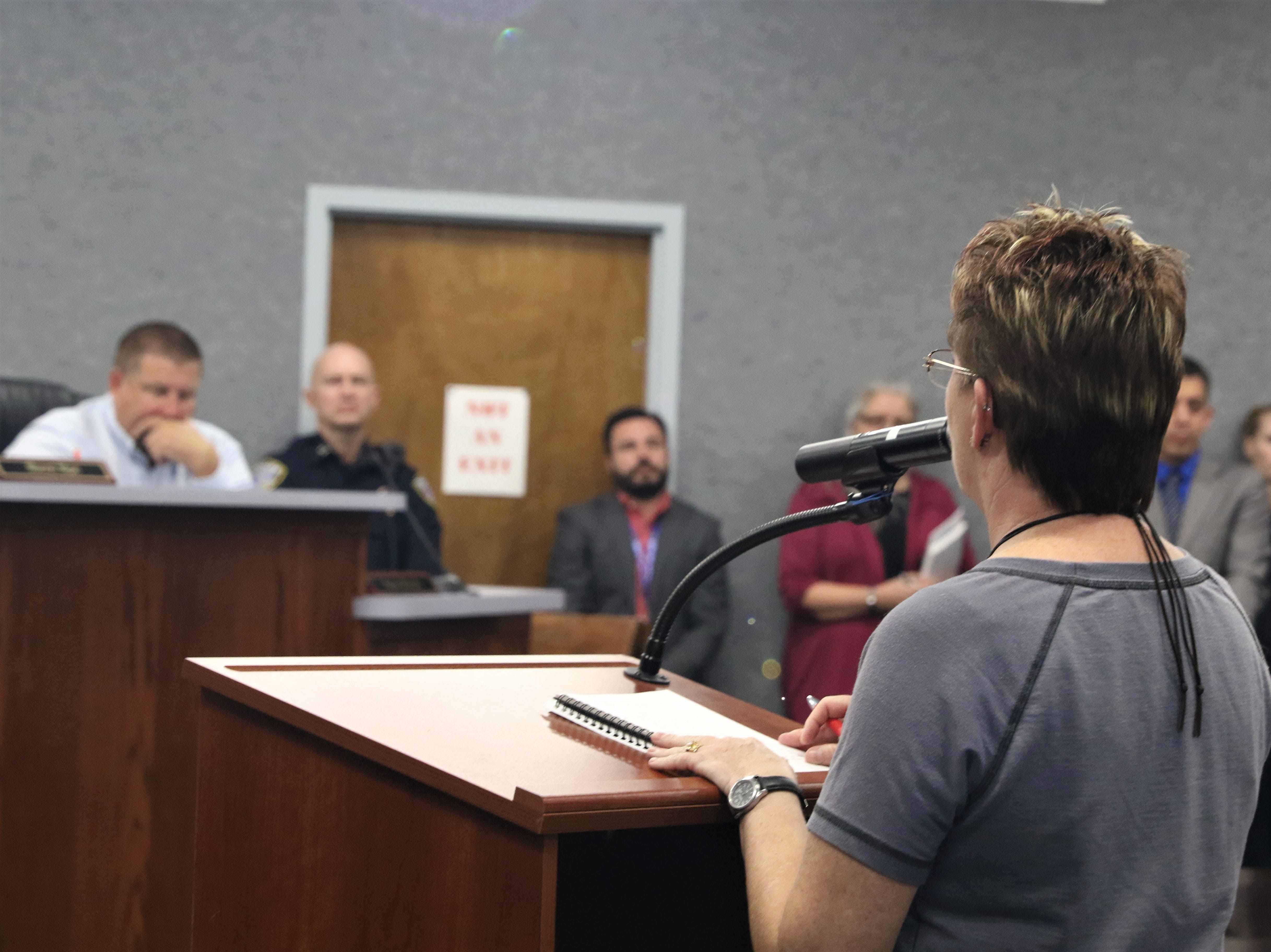 Darci Moss asked the Aztec City Commission to pass a Second Amendment Preservation City resolution, Tuesday, March 26, 2019, during a City Commission meeting.