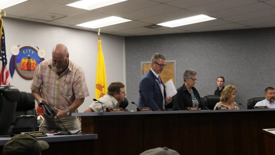 The Aztec City Commissioners were instructed to leave the commission chambers, Tuesday, March 26, 2019, because audience members were becoming unruly.