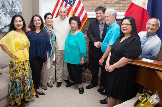 From left to right: Amy Risvold, PACCM officer, Anne Azcona, Flor Penner, PACCM officer, Madonna President Michael Grandillo, Teresita Tingson, Mayor Mark Golez, Mayor Dennis Wright, Madonna Vice President Connie Tingson-Gatuz and Tony Kho, PACCM officer. This photo was taken in 2017 when Golez, the mayor of Silay, visited Livonia.