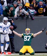 Jordy Nelson after one of his first half TD's.  The Green Bay Packers defeated the Detroit Lions 45-41 at Lambeau Field in Green Bay WI Sunday January 1, 2012.