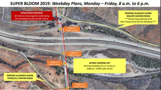 This map shows where poppy enthusiasts can go when visiting Lake Elsinore's Walker Canyon during weekdays.