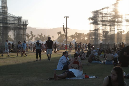 April 22, 2018; Indio, CA, USA; Festival goers relax in front of Etherea at the Coachella Valley music and Arts Festival at Empire Polo Club. Mandatory Credit: Zoe Meyers/The Desert Sun via USA TODAY NETWORK