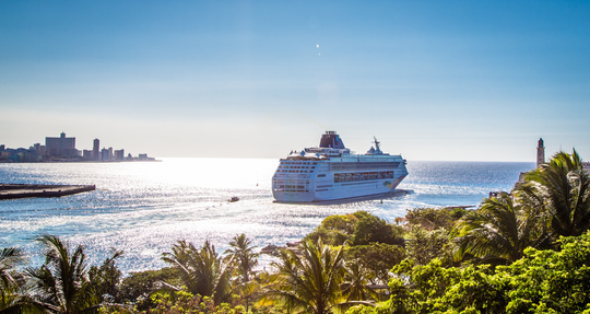 A cruise ship leaving Cuba