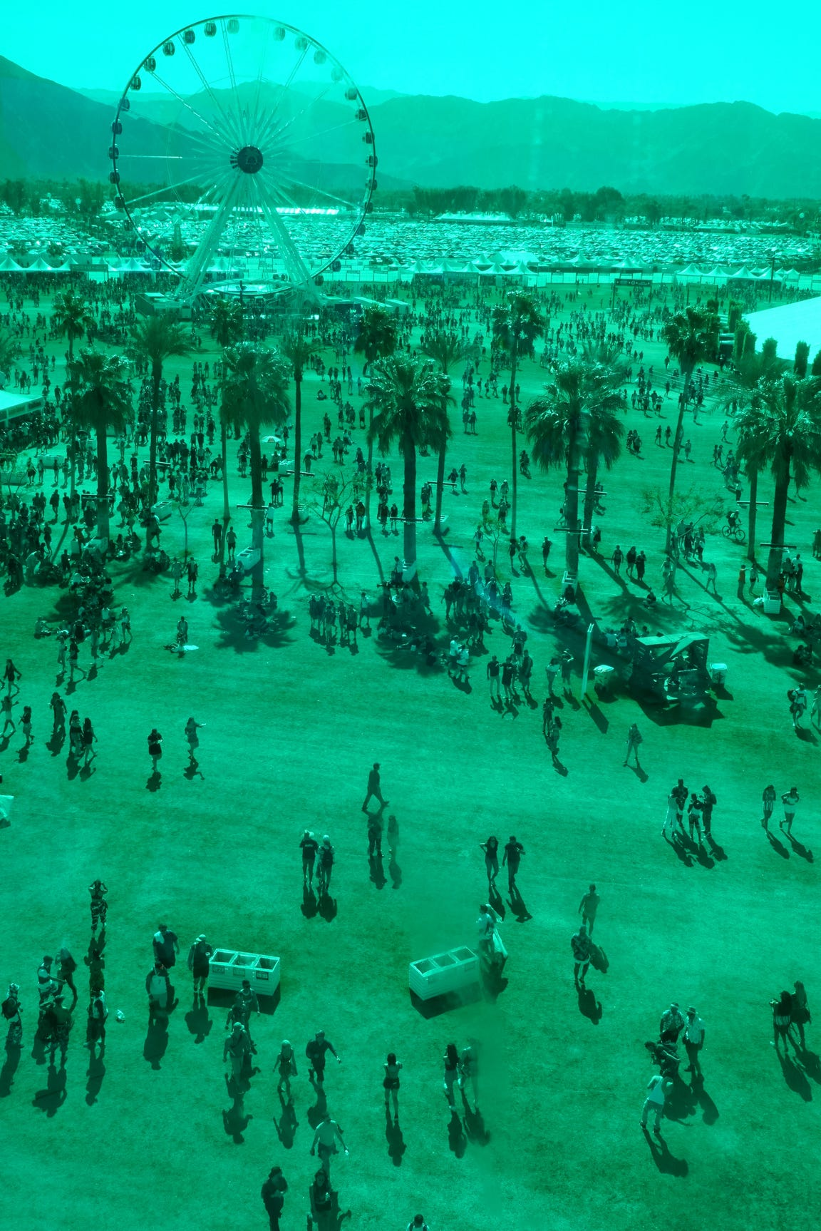 """A view from """"Spectra"""" of the Coachella Valley Music and Arts Festival at the Empire Polo Club in Indio, Calif., April 14, 2018."""