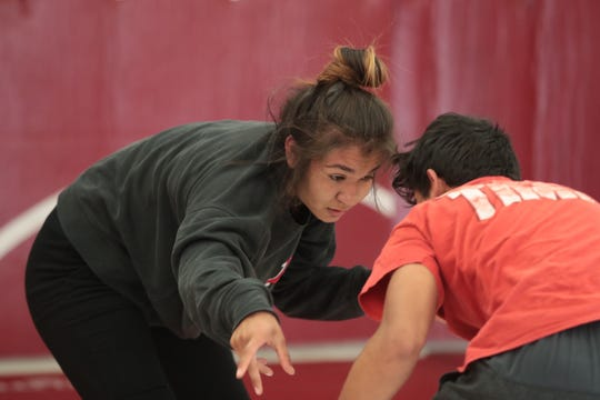 Cindy Zepeda spars with teammate Josue Salas in one of her last practices before Nationals, Palm Springs, Calif., March 26, 2019.
