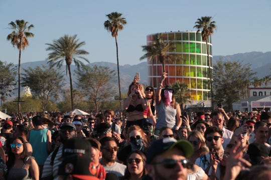 April 22, 2018; Indio, CA, USA; Fans listen to Cardi B perform at the Coachella Valley music and Arts Festival at Empire Polo Club. Mandatory Credit: Zoe Meyers/The Desert Sun via USA TODAY NETWORK