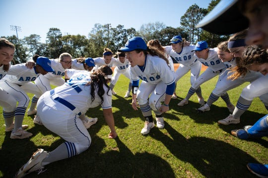 Escambia grad Sara Spears hypes up her UWF teammates prior to an undated game for Argo softball.