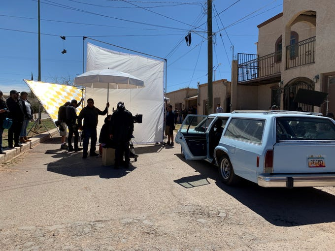 For the past month, crews shooting a Mexican television series have taken over certain blocks for filming in Naco, Sonora as residents look on.