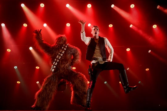 "Chewbacca and Han Solo get down in the burlesque parody ""The Empire Strips Back."""