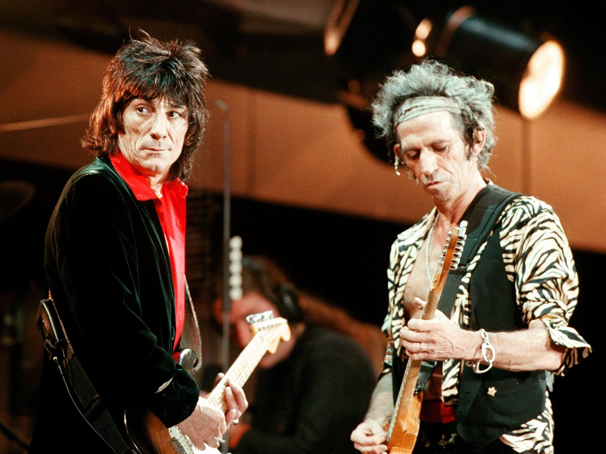 Ronnie Wood and Keith Richards perform at the Olympic Stadium in Athens, Greece.