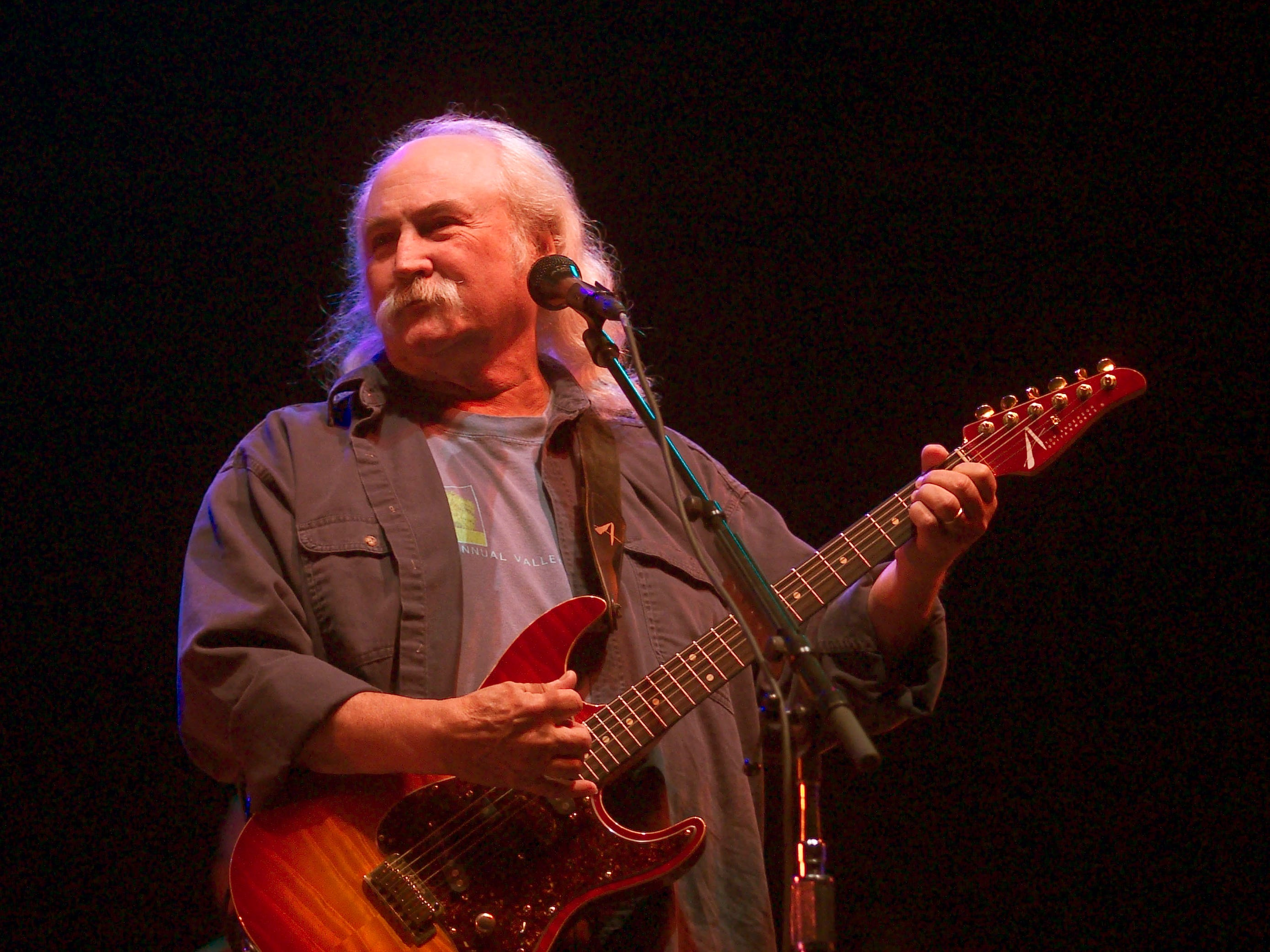 David Crosby of Crosby, Stills and Nash performs May 3, 2003 during the Music Midtown concert in Atlanta.