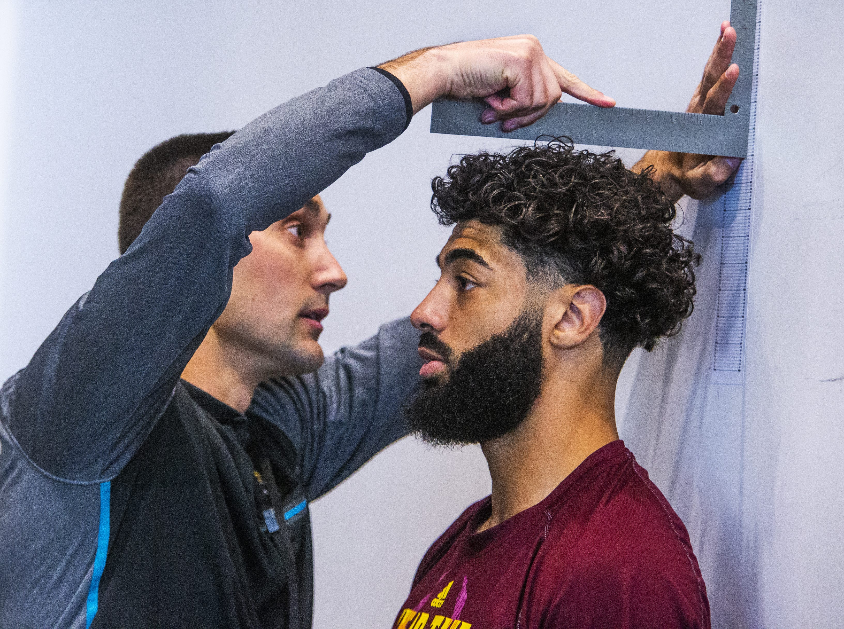 Former Arizona State University quarterback Manny Wilkins, Jr., is measured at the 2019 Football Pro Day held on campus, Wednesday, March 27, 2019.